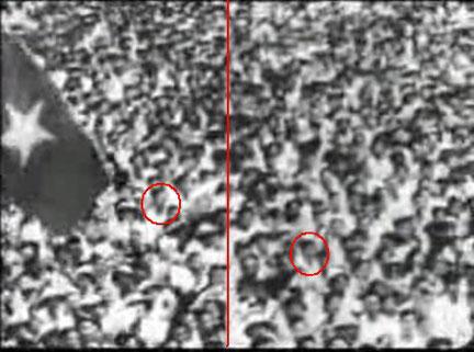 Hình đỏ chỉ ra đường ghép của hai tấm phim, quí vị nhìn kỹ trong đoạn phút 4.49 của youtube http://www.youtube. com/watch? v=9n1TNfx9LaQ sẽ thấy . Hình khoanh tròn là hai người giống nhau được quay 2 lần và ráp lại .