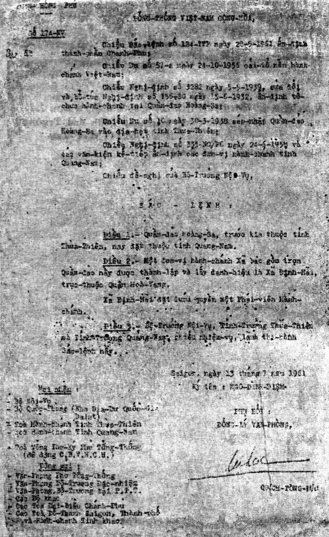 Sắc lệnh số 174-NV ngày 13/7/1961 của Tổng thống Việt Nam Cộng Hoà Ngô Đình Diệm