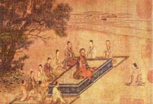 Việt Nam chịu ảnh hưởng Nho Giáo của Khổng tử. Hình minh hoạ. Tromg hình: Khổng tử và các học trò.