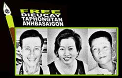 Từ trái: Blogger Điếu Cày, blogger Tạ Phong Tần, và blogger Anh ba Saigon. RFA file