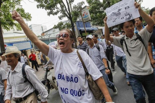 Một cuộc biểu tình chống Trung Quốc ở trung tâm thành phố Hồ Chí Minh vào ngày 11 tháng 5 năm 2014  AFP photo