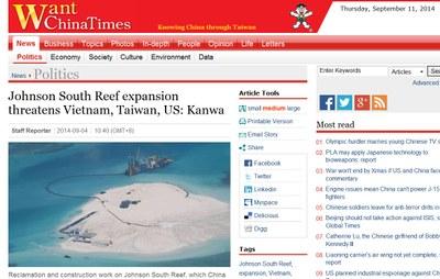 Tờ Want China Times của Đài Loan đưa tin, TQ mở rộng khu vực đảo Gạc Ma (tên quốc tế: Johnson South Reef - là một bãi đá ngầm thuộc quần đảo Trường Sa) đe dọa nghiêm trọng Việt Nam, Đài Loan...