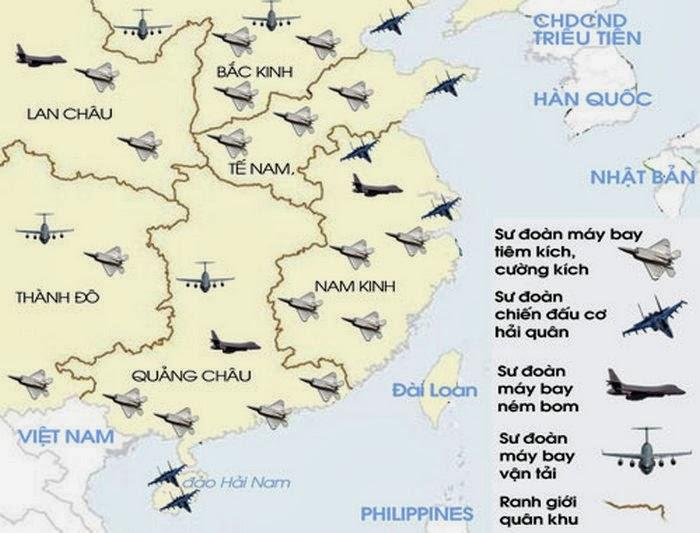 Biểu đồ những phi trường không quân của Trung Quốc. Nguồn:Bộ Quốc Phòng và Không quân (PLAAF).