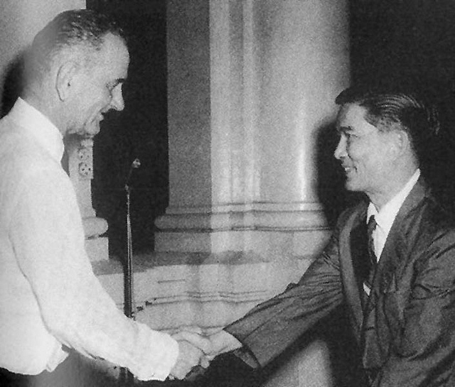 Vice President Lyndon B. Johnson meets Mr. Ngo                                                                                                                        Dinh Nhu  at Gia Long Palace, Saigon 12-5-1961