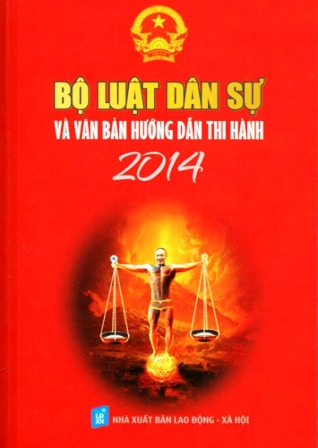 """Bìa sách """"Bộ luật dân sự và văn bản hướng dẫn thi hành"""" 2014 in hình quái gở của diễn viên hài Công Lý trên người chỉ mặc chiếc quần lót."""