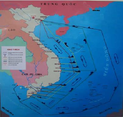 """Bản đồ các tuyến đi của đoàn """"tàu không số""""trên đường Hồ Chí Minh trên biển Đông"""