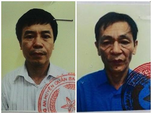 Đối tượng Phan Ngọc Thực (phải) và đối tượng Trần Ngọc Quyết (trái).