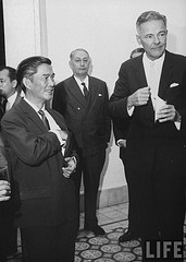 US Ambassador Henry Cabot                                                                                                                 Lodge Jr. (fore R) talking with                                                                                                                              Mr. Ngo Dinh Nhu (fore L) at                                                                                                                 a diplomatic reception. Sept 1963