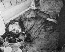 The dead body of Diem in the back  of an armoured personnel carrier