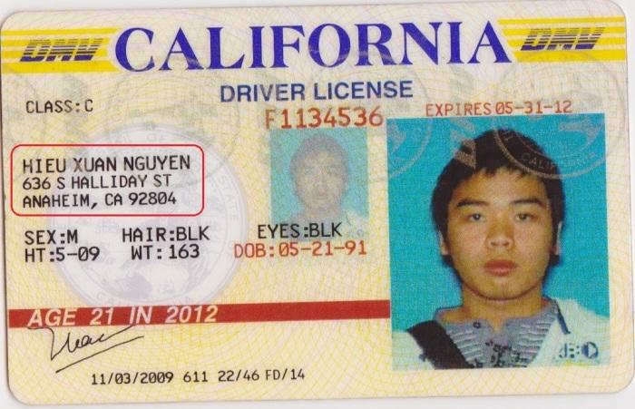 Bằng lái xe tại Mỹ của Nguyễn Xuân Hiếu, quý tử của Phó Thủ tướng Nguyễn Xuân Phúc ghi rõ địa chỉ căn biệt thự 636 South Halliday street, Anaheim, CA 92804