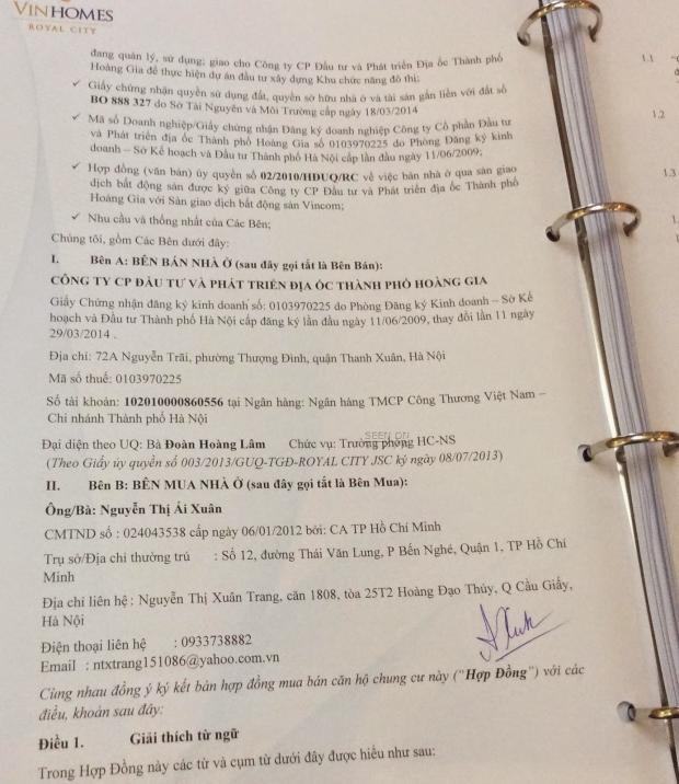 Trích bản hợp đồng số R22919/RC/HĐMBCH ký ngày 13/10/2014 trị giá 5,27 tỷ đồng do Vũ Chí Hùng rút ruột bố vợ tặng cho mẹ
