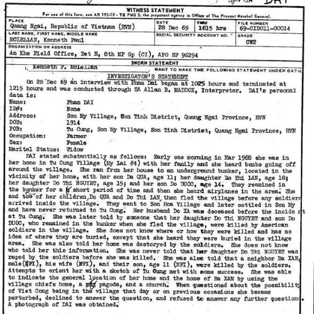 """Cuối năm 69, uỷ ban điều tra sự vụ Mỹ Lai có phỏng nhân chứng là bà Phạm Đài, sinh năm 1914. Trong quá trình phỏng vấn bà đã trả lời nhiều câu hỏi. Tuy nhiên, khi đặt câu hỏi là """"khả năng VC ẩn nấp ở trong làng khi xảy ra sự vụ và trước đó không?"""" thì bà trở nên hoảng hốt, từ chối trả lời câu hỏi và từ chối tiếp tục phỏng vấn. Tại sao lại hoảng hốt nếu như quả thật không có VC hiện diện ở Mỹ Lai lúc ấy?http://www.vietnam.ttu.edu/virtualarchive/items.php?item=1540151012"""