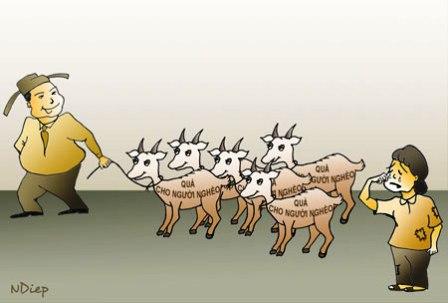 12 con dê đi lạc vào nhà ông Huyện ủy – Biếm họa của báo Dân Trí