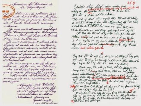 Bút tích của NQA/NTT trong lá thư xin học trường Pháp năm 1911 và bút tích của HCM trong di chúc