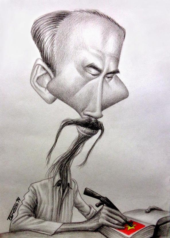 © HO CHI MINH by/por WALTER TOSCANO. First Place in/Primer Lugar en Traditional Caricature Art Contest. Traditional Media/Técnica tradicional 2014. Súng đạn tô màu cờ.
