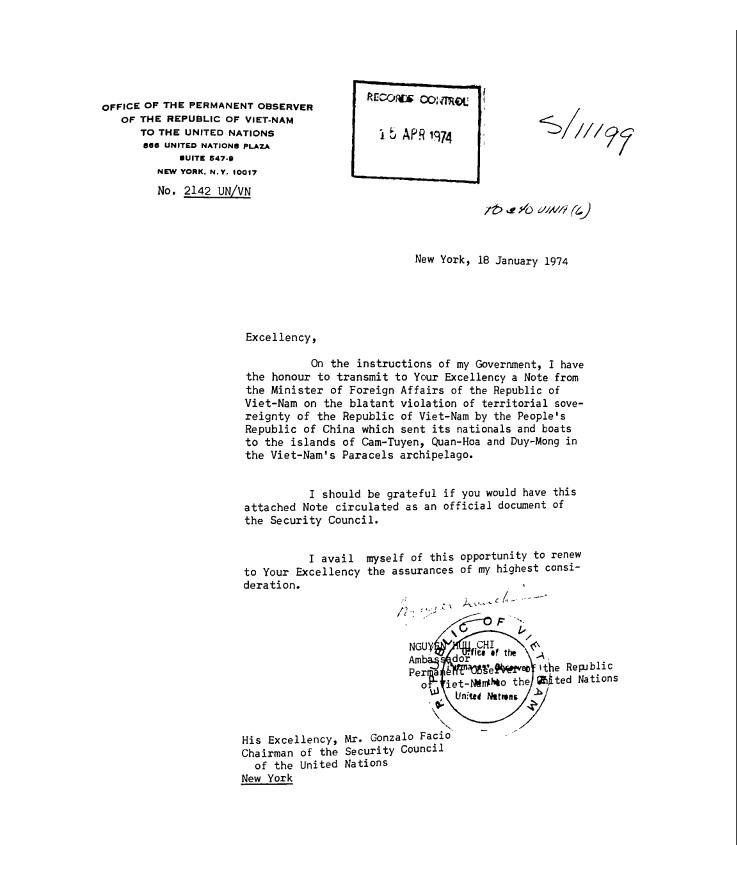 Công văn của Đại sứ Nguyễn Hữu Chí gởi Chủ tịch HĐ Bảo an LHQ, Gonzalo Facio, phản đối CHNDTH trắng trợn vi phạm chủ quyền Việt Nam ở quần đảo Hoàng Sa, trang 1/5 (New York, 18/01/1974). Nguồn: Wilson Center. Digital Archive, International History Declassified