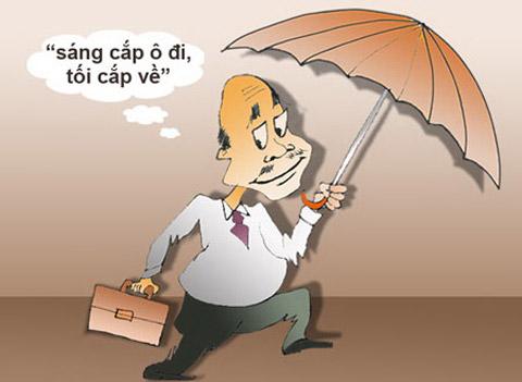 Biếm họa sáng cắp ô đi tối cắp về