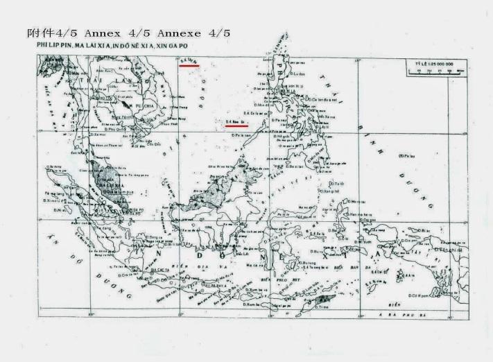 """Tập """"Bản đồ Thế giới"""" do Cục Đo đạc và Bản đồ Phủ Thủ tướng Việt cộng in ấn xuất bản tháng 5/1972 đã ghi chú quần đảo Tây Sa, Nam Sa bằng tên gọi do Trung Quốc đặt. (nơi có gạch đỏ, Qđ Tây Sa, Qđ Nam Sa)."""