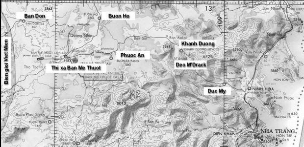 Bản đồ từ biên giới Việt- Miên tới Nha Trang