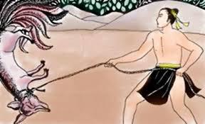 Lạc Long Quân diệt chồn già Hồ ly chín đuôi, tại miền Long Biên (Lĩnh Nam Chích Quái).