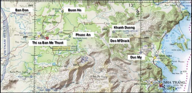 Bản đồ từ Ban Mê Thuột đến Nha Trang