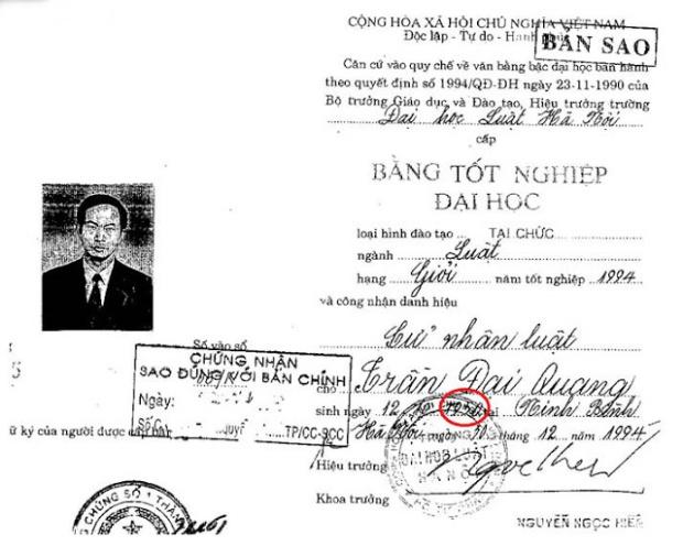 1. Bằng tốt nghiệp đại học của Quang ghi năm sinh là 1950.