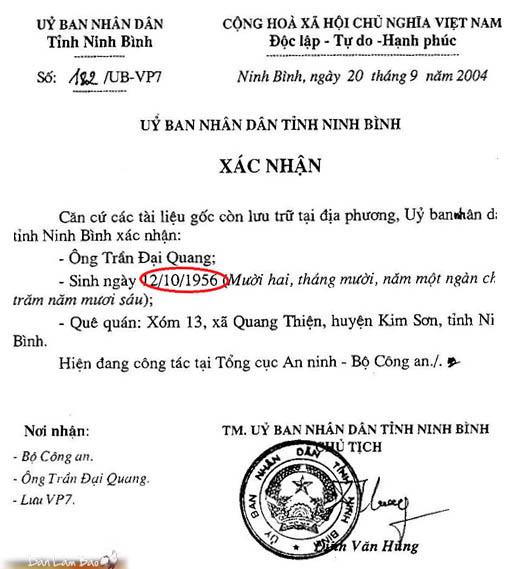 2. Giấy chứng nhận của Ủy ban Nhân dân  tỉnh Ninh Bình xác nhận [láo] là Quang sinh năm 1956.