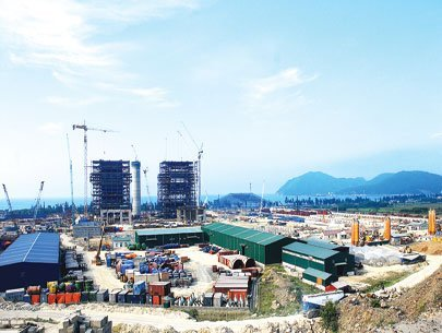 Công trường xây dựng nhà máy nhiệt điện tại khu liên hợp gang thép của tập đoàn Formosa ở Hà Tĩnh. Ảnh: Kinh tế Sài Gòn